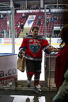 KELOWNA, CANADA - NOVEMBER 28:  Dylen McKinlay #19 of the Kelowna Rockets exits the ice as a three star winner against the Tri City Americans at the Kelowna Rockets on November 28, 2012 at Prospera Place in Kelowna, British Columbia, Canada (Photo by Marissa Baecker/Shoot the Breeze) *** Local Caption ***
