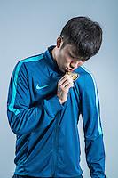 Portrait of Chinese soccer player Zhang Xiaobin of Jiangsu Suning F.C. for the 2017 Chinese Football Association Super League, in Nanjing city, east China's Jiangsu province, 27 February 2017.