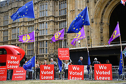 © Licensed to London News Pictures. 03/09/2019. London, UK. Protesters assemble opposite the Palace of Westminster at the beginning a long day as MPs meet to block the suspension of Parliament.  Photo credit: Guilhem Baker/LNP