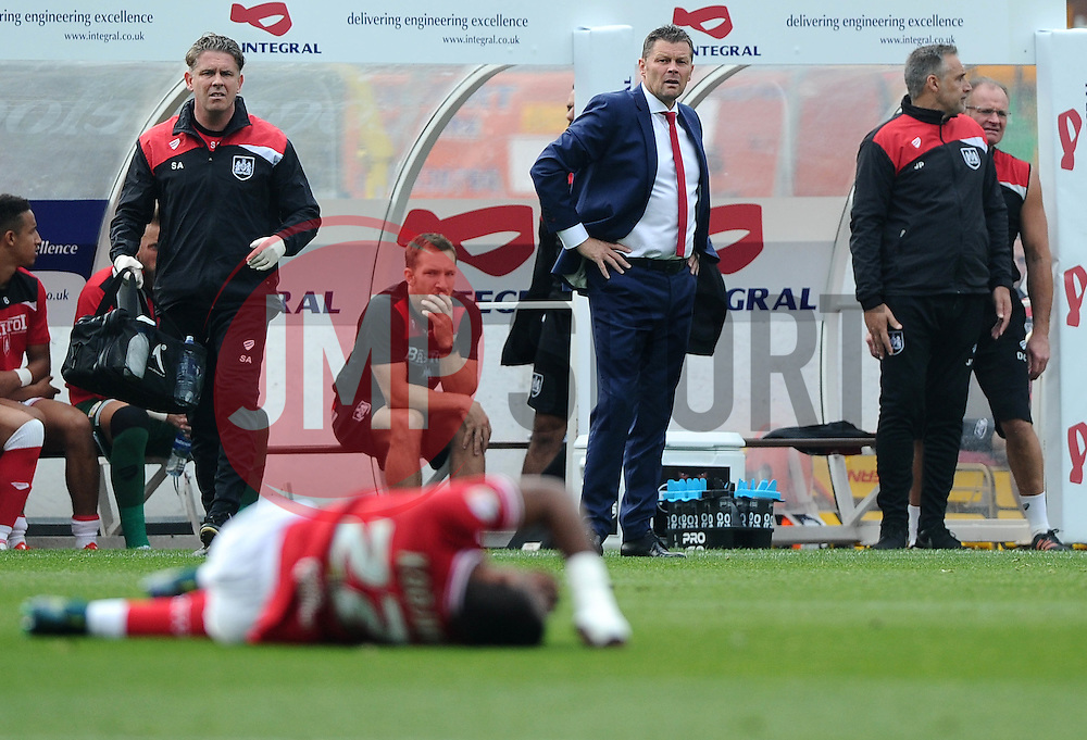 Bristol City manager, Steve Cotterill looks on as Jonathan Kodjia of Bristol City lies injured  - Mandatory byline: Joe Meredith/JMP - 07966 386802 - 03/10/2015 - FOOTBALL - Ashton Gate - Bristol, England - Bristol City v MK Dons - Sky Bet Championship