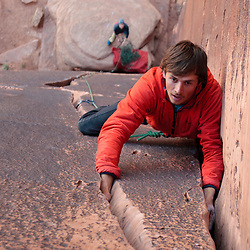 Levi Call leading Tequilla Sunrise at Maverick Buttress in Long Canyon