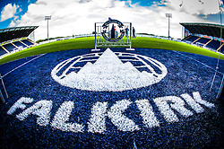 "A close up of the ""Falkirk"" sign at the tunnell, at The Falkirk Stadium, with the new pitch, for the Scottish Championship game v Hamilton. The woven GreenFields MX synthetic turf and the surface has been specifically designed for football with 50mm tufts compared with the longer 65mm which has been used for mixed football and rugby uses.  It is fully FFA two star compliant and conforms to rules laid out by the SPL and SFL.<br />