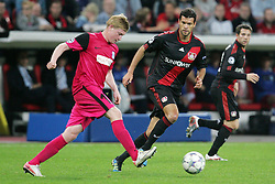 28.09.2011, BayArena, Leverkusen, GER, UEFA CL, Gruppe E, Bayer 04 Leverkusen (GER) vs KRC Genk (BEL), im Bild.Michael Ballack (Leverkusen #13) (R) gegen Kevin De Bruyne (Genk #14)..// during the UEFA CL, group E, Bayer Leverkusen vs KRC Genk  on 2011/09/28, at BayArena, Leverkusen, Germany. EXPA Pictures © 2011, PhotoCredit: EXPA/ nph/  Mueller *** Local Caption ***       ****** out of GER / CRO  / BEL ******