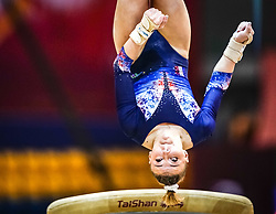October 28, 2018 - Doha, Quatar - Lorette Charpy of  France   during  Vault qualification at the Aspire Dome in Doha, Qatar, Artistic FIG Gymnastics World Championships on 28 of October 2018. (Credit Image: © Ulrik Pedersen/NurPhoto via ZUMA Press)