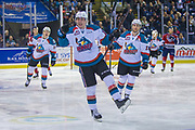 KELOWNA, CANADA - MARCH 24:  Kole Lind #16 of the Kelowna Rockets celebrates after an early goal in the first period at the Kelowna Rockets game on March 24, 2018 at Prospera Place in Kelowna, British Columbia, Canada.  (Photo By Cindy Rogers/Nyasa Photography,  *** Local Caption ***