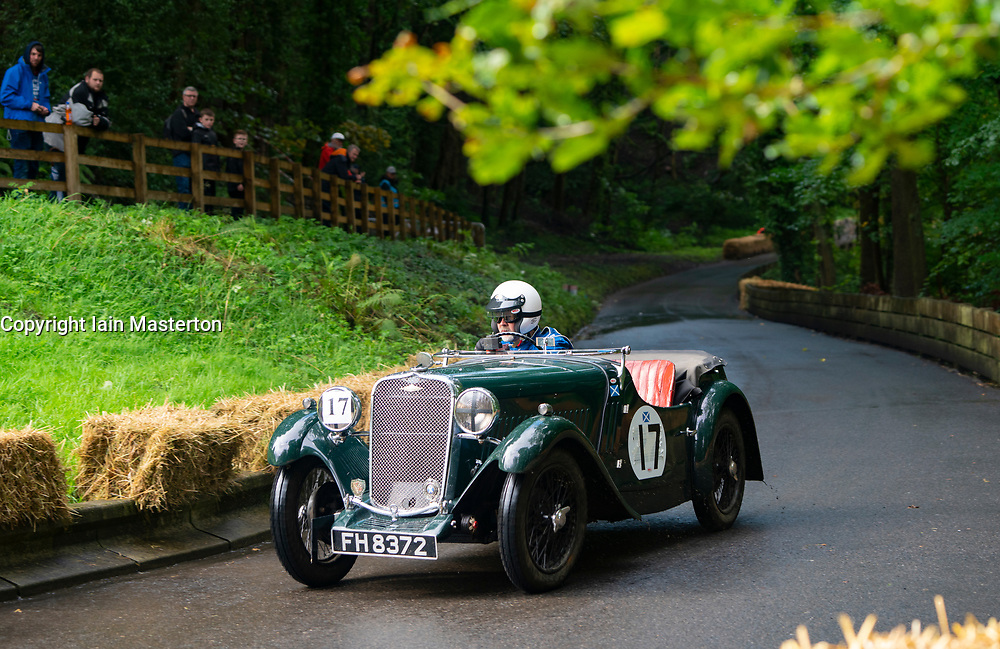 Boness Revival hillclimb motorsport event in Boness, Scotland, UK. The 2019 Bo'ness Revival Classic and Hillclimb, Scotland's first purpose-built motorsport venue, it marked 60 years since double Formula 1 World Champion Jim Clark competed here.  It took place Saturday 31 August and Sunday 1 September 2019. 17. Rob Armstrong. Singer 9 Sports Le Mans