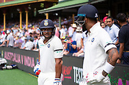 Indian player Mayank Agarwal and Indian player K.L Rahul before the start of play at the 4th Cricket Test Match between Australia and India at The Sydney Cricket Ground in Sydney, Australia on 03 January 2019.