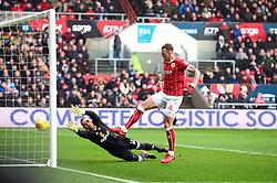 Aden Flint of Bristol City scores the opening goal of the game - Mandatory by-line: Dougie Allward/JMP - 10/02/2018 - FOOTBALL - Ashton Gate Stadium - Bristol, England - Bristol City v Sunderland - Sky Bet Championship