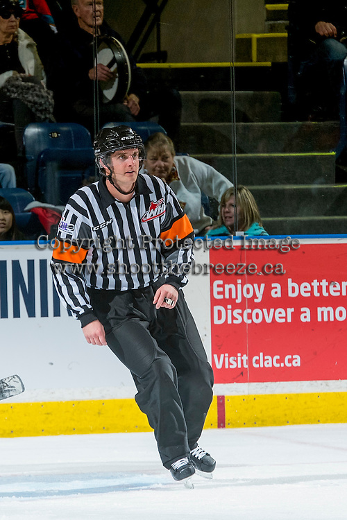KELOWNA, CANADA - DECEMBER 27: Referee, Steve Papp, officiates between the Kamloops Blazers and the Kelowna Rockets on December 27, 2016 at Prospera Place in Kelowna, British Columbia, Canada.  (Photo by Marissa Baecker/Shoot the Breeze)  *** Local Caption ***
