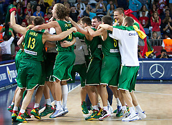 Players of Lituania celebrate after winning the third-place basketball match between National teams of Serbia and Lithuania at 2010 FIBA World Championships on September 12, 2010 at the Sinan Erdem Dome in Istanbul, Turkey. Lithuania defeated Serbia 99 - 88 and win placed third.  (Photo By Vid Ponikvar / Sportida.com)
