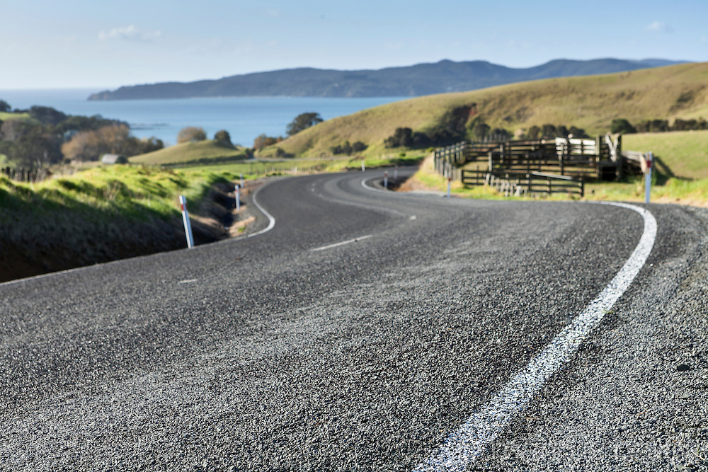 Chip-seal road surface on New Zealand road