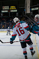 KELOWNA, CANADA - FEBRUARY 23:  Kole Lind #16 of the Kelowna Rockets skates by the bench to celebrate a goal against the Seattle Thunderbirds on February 23, 2018 at Prospera Place in Kelowna, British Columbia, Canada.  (Photo by Marissa Baecker/Shoot the Breeze)  *** Local Caption ***