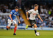 Jeff Hendrick and Danny Hollands during the Capital One Cup match between Portsmouth and Derby County at Fratton Park, Portsmouth, England on 12 August 2015. Photo by Adam Rivers.