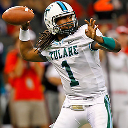 September 22, 2012; New Orleans, LA, USA; Tulane Green Wave quarterback Devin Powell (1) throws against the Ole Miss Rebels during the second half of a game at the Mercedes-Benz Superdome. Ole Miss defeated Tulane 39-0. Mandatory Credit: Derick E. Hingle-US PRESSWIRE