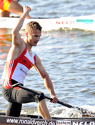 RONALD VERCH (GERMANY) CELEBRATES HIS GOLD MEDAL IN MEN'S C1 5000 METERS FINAL A RACE DURING 2010 ICF KAYAK SPRINT WORLD CHAMPIONSHIPS ON MALTA LAKE IN POZNAN, POLAND...POLAND , POZNAN , AUGUST 21, 2010..( PHOTO BY ADAM NURKIEWICZ / MEDIASPORT ).