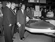 18/04/1960<br /> 04/18/1960<br /> 18 April 1960<br /> The First Annual Boat Show at  Busaras, Store Street, Dublin. Minister for Transport and Power Erskine Childers and the Lord Mayor of Dublin Philip Brady examine some of the craft on display.