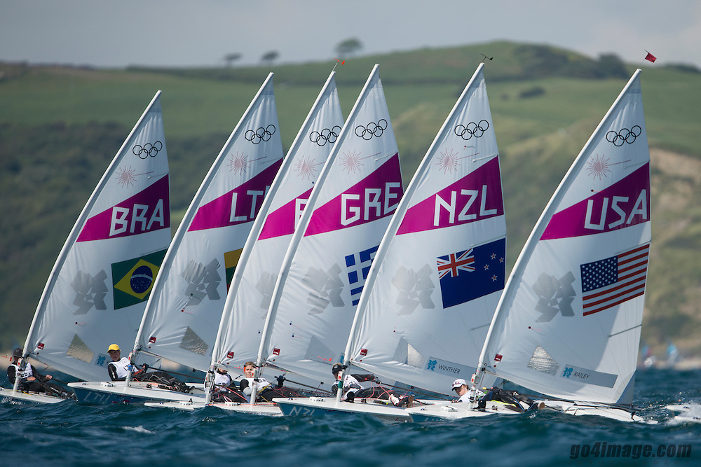 2012 Olympic Games London / Weymouth<br /> Racing day 1 Laser<br /> Laser RadialUSARailey Paige<br /> Laser RadialNZLWinther Sara