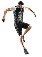 one caucasian man trail runner running silhouette isolated on white background