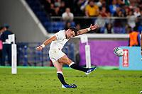 Rugby Union - 2019 Rugby World Cup - Semi-Final: England vs. New Zealand<br /> <br /> George Ford of England kicks points at International Stadium Yokohama, Kanagawa Prefecture, Yokohama City.<br /> <br /> COLORSPORT/LYNNE CAMERON