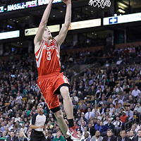 06 March 2012: Houston Rockets point guard Goran Dragic (3) dunks the ball during the Boston Celtics 97-92 (OT) victory over the Houston Rockets at the TD Garden, Boston, Massachusetts, USA.