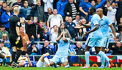 Fernandinho of Manchester City reacts after fouling Tom Cleverley Everton  - Mandatory byline: Matt McNulty/JMP - 07966386802 - 23/08/2015 - FOOTBALL - Goodison Park -Everton,England - Everton v Manchester City - Barclays Premier League