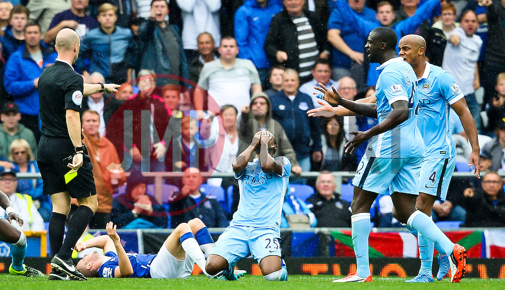 Fernandinho of Manchester City reacts after fouling Tom Cleverley Everton  - Mandatory byline: Matt McNulty/JMP - 07966386802 - 23/08/2015 - FOOTBALL - Goodison Park -Everton,England - Everton v Manchester City - Barclays Premier League