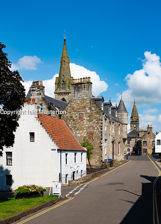 View of old houses in historic village of Falkland in Fife, Scotland, UK