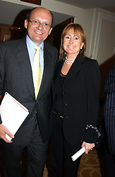 """Vote No's chief treasurer, MICHAEL SPENCER, chief executive of the money broker Icap and his wife LORAINE SPENCER at the Vote No Dinner -The dinner is the first stage in building a """"£5m war chest for the campaign for a No vote in the forthcoming referendum on the constitution, held at the Savoy Hotel, London on 16th November 2004.<br /><br />NON EXCLUSIVE - WORLD RIGHTS"""