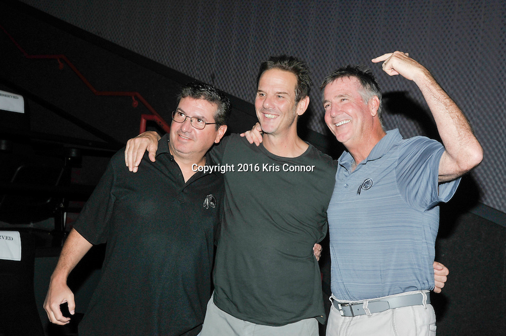 RICHMOND, VA - AUG 13:  Director Peter Berg, Redskins Owner Dan Snyder and Redskins President Bruce Allen attend a special screening for the Washington Redskins football team of Lions Gate Entertainment's new movie Deepwater Horizon at Bow Tie Cinema on August 13, 2016 in Richmond, Va. (Photo by Kris Connor for Lions gate Entertainment)