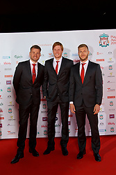 LIVERPOOL, ENGLAND - Tuesday, May 9, 2017: Liverpool's goalkeepers Simon Mignolet and Adam Bogdan and defender Ragnar Klavan arrive on the red carpet for the Liverpool FC Players' Awards 2017 at Anfield. (Pic by David Rawcliffe/Propaganda)
