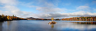 A Tiny Island In Tupper Lake During The Peak Of Autumn, Panoramic View, Adirondack Mountains, New York, USA