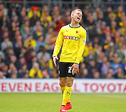 Watford Matej Vydra with a missed chance during the Sky Bet Championship match between Watford and Sheffield Wednesday at Vicarage Road, Watford, England on 2 May 2015. Photo by Phil Duncan.