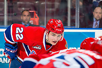 KELOWNA, CANADA - MARCH 13:  Luke Toporowski #22 of the Spokane Chiefs lines up against the Kelowna Rockets on March 13, 2019 at Prospera Place in Kelowna, British Columbia, Canada.  (Photo by Marissa Baecker/Shoot the Breeze)