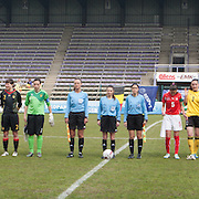 21120413 - HARELBEKE, BELGIUM : Team Belgium, Team Switzerland and the referees are pictures here during the Second qualifying round of U17 Women Championship between Switzerland and Belgium on Friday April 13th, 2012 in Harelbeke, Belgium.