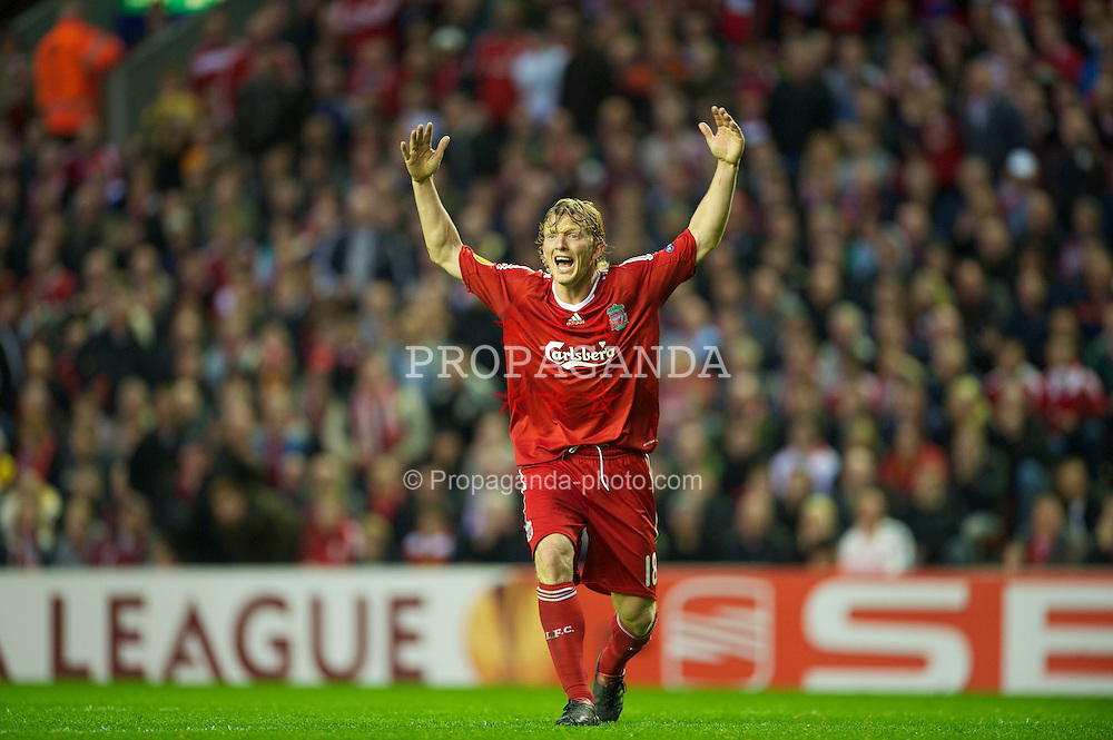 LIVERPOOL, ENGLAND - Thursday, April 29, 2010: Liverpool's Dirk Kuyt can't believe it as another decision goes against his side during the UEFA Europa League Semi-Final 2nd Leg match against Club Atletico de Madrid at Anfield. (Photo by: David Rawcliffe/Propaganda)