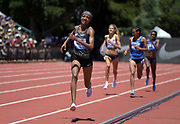 Jun 30, 2019; Stanford, CA, USA; Sifan Hassan (NED) wins the women's 3,000 in an IAAF Diamond League record 8:18.49 during the 45th Prefontaine Classic at Cobb Track & Angell Field.