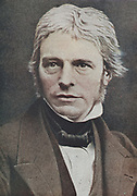 Michael Faraday (1791-1867) British physicist and chemist. From a hand-tinted photograph.