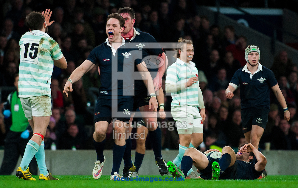 Simon Davis of Cambridge University confronted by Oxford players before being sin binned in the final minutes for challenging Henry De Berker of Oxford University in the air dying minutes during the The Mens Varsity Match match at Twickenham Stadium, Twickenham<br /> Picture by Jack Megaw/Focus Images Ltd +44 7481 764811<br /> 10/12/2015