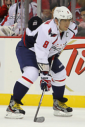 Jan 25, 2013; Newark, NJ, USA; Washington Capitals left wing Alex Ovechkin (8) during the second period at the Prudential Center.
