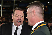 JOHANNESBURG, South Africa, 25 July 2015 : Coach of the All Blacks, Steve Hanson talking to Coach of the Springboks, Heyneke Meyer after the Castle Lager Rugby Championship test match between SOUTH AFRICA and NEW ZEALAND at Emirates Airline Park in Johannesburg, South Africa on 25 July 2015. Bokke 20 - 27 All Blacks<br /> <br /> © Anton de Villiers / SASPA