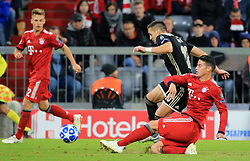 02.10.2018, CL, Champions League, FC Bayern Muenchen vs Ajax Amsterdam, Allianz Arena  Muenchen, im Bild:...Joshua Kimmich (FCB), und Dusan Tadic ( Ajax Amsterdam) vs James Rodriguez (FCB)..DFL REGULATIONS PROHIBIT ANY USE OF PHOTOGRAPHS AS IMAGE SEQUENCES AND / OR QUASI VIDEO...Copyright: Philippe Ruiz..Tel: 089 745 82 22.Handy: 0177 29 39 408.e-Mail: philippe_ruiz@gmx.de. (Credit Image: © Philippe Ruiz/Xinhua via ZUMA Wire)