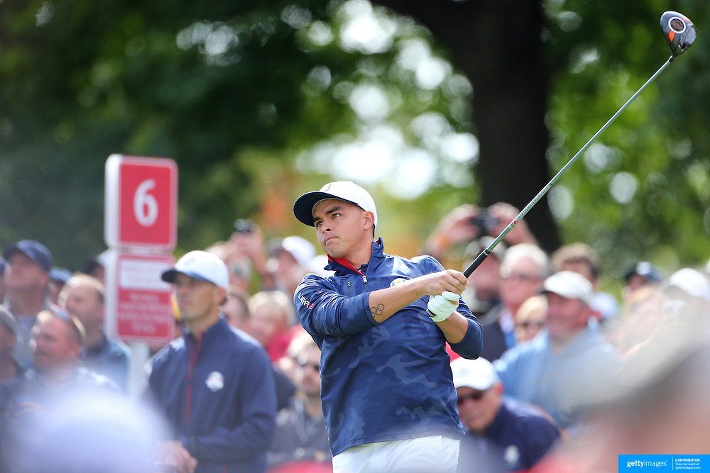 Ryder Cup 2016. Rickie Fowler of the United States during practice day in front of massive crowds at the Hazeltine National Golf Club on September 28, 2016 in Chaska, Minnesota.  (Photo by Tim Clayton/Corbis via Getty Images)