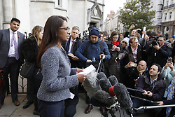 © Licensed to London News Pictures. 03/11/2016. London, UK. Campaigner Gina Miller leaves the High Court after a ruling was announced on her Brexit legal challenge. Ms Miller and other campaigners launched a legal challenge, after the EU referendum result, to force the government to seek Parliamentary approval before Brexit negotiations begin. Photo credit: Peter Macdiarmid/LNP