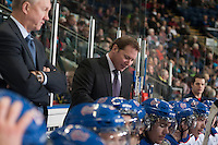 KELOWNA, CANADA - NOVEMBER 29: Dave Struch, assistant coach of the Regina Pats goes over a play on the bench against the Kelowna Rockets on November 29, 2014 at Prospera Place in Kelowna, British Columbia, Canada.  (Photo by Marissa Baecker/Shoot the Breeze)  *** Local Caption *** Dave Struch;