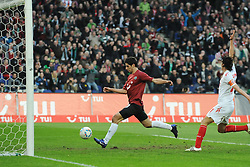 18.03.2012, AWD Arena, Hannover, GER, Hannover 96 vs 1. FC Koeln, 26. Spieltag, im Bild Tor zum 1:0. Lars Stindl (Hannover) trifft das Tor zum 1:0 // during the German 'Bundesliga' Match, 26th Round, between Hannover 96 and 1. FC Koeln at the AWD Arena, Hannover, Germany on 2012/03/18. EXPA Pictures © 2012, PhotoCredit: EXPA/ Eibner/ Titgemeyer     ATTENTION - OUT OF GER *****