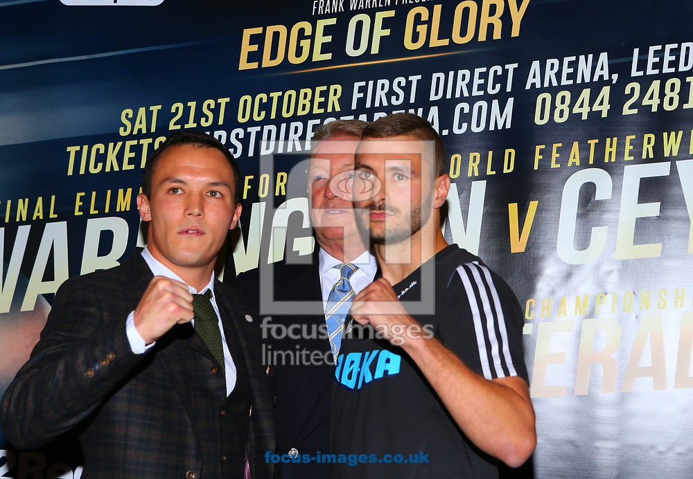 Josh Warrington (L) and Dennis Ceylan (R) and promotor Frank Warren (C) during the press conference prior to the Warrington v Ceylan IBF Featherweight World title eliminator contest at Aspire, Leeds, UK.<br /> Picture by Stephen Gaunt/Focus Images Ltd +447904 833202<br /> 04/09/2017