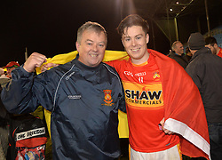 Castlebar&rsquo;s Mitchels Padraig and Cian Costello celebrate their County final win at McHale park.<br /> Pic Conor McKeown
