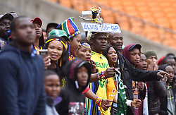 South Africa: Johannesburg: Bafana Bafana supporters celebrates a goal during a match against Seychelles during the Africa Cup Of Nations qualifiers at FNB stadium, Gauteng.<br />