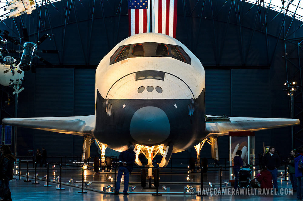 The space shuttle Enterprise on display in the space wing at the Smithsonian National Air and Space Museum's Udvar-Hazy Center, a large hangar facility at Chantilly, Virginia, next to Dulles Airport and just outside Washington DC.