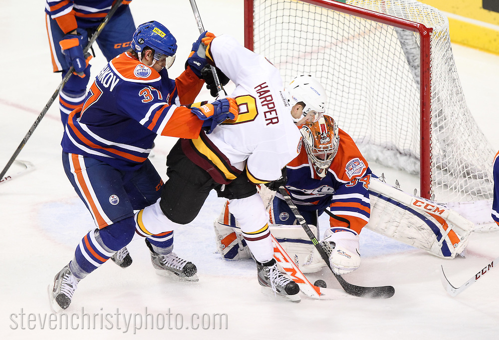 November 1, 2013: The Oklahoma City Barons play the Chicago Wolves in an American Hockey League game at the Cox Convention Center in Oklahoma City.
